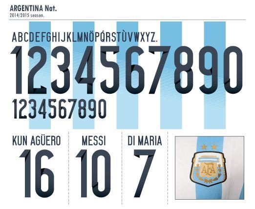 Football Teams Shirt And Kits Fan Font Argentina World Cup 2014 Football Fonts Jersey Font Argentina World Cup