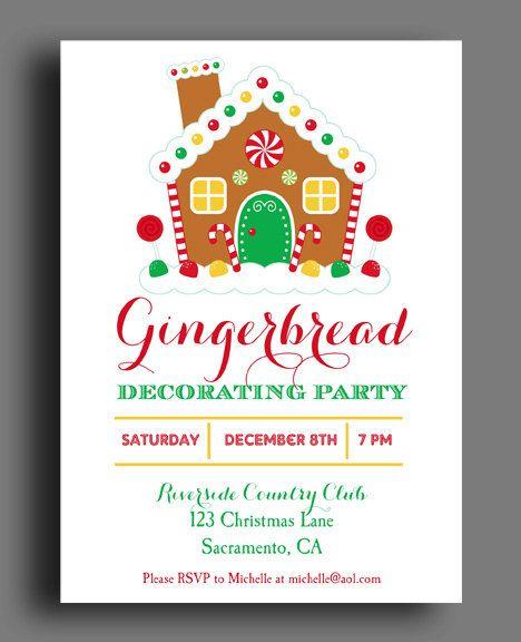 Gingerbread house invitation printable christmas party Gingerbread house decorating party invitations