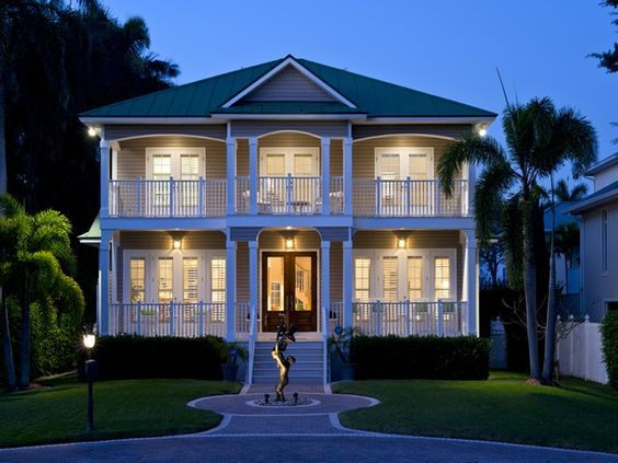 Key west style beach house two story porches for Beach house plans with porches
