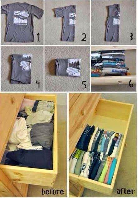 Artesanato na Pratica: Aprenda a organizar camisetas em gavetas