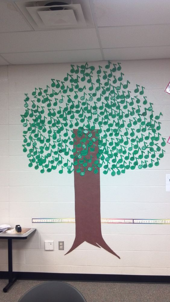 "Have all your music students write their names on an eighth note to make a Note Tree. ""We're growing together in music!"" Or can go with ""We Are All the Leaves of One Tree"""