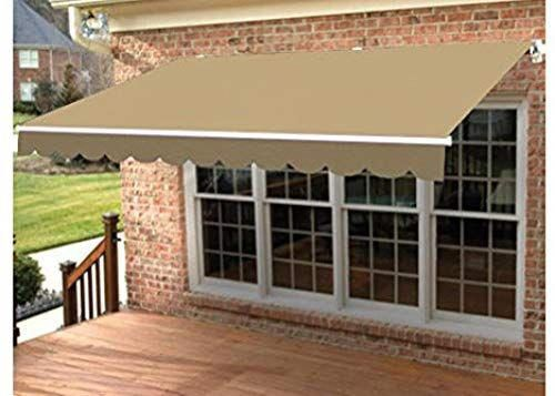 Aleko 12x10 Feet Retractable Patio Awning Sand Color 3 5m X 3m Patio Awning Patio Shade Diy Patio Decor