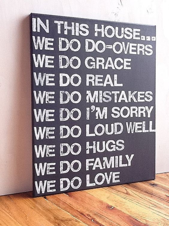 16X20 Canvas Sign - In This House We Do Grace, Family Rules Sign, Living Room Decor, Graphite Gray and White: