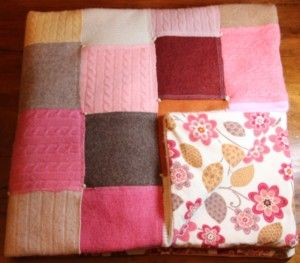 Quilted sweater baby blanket