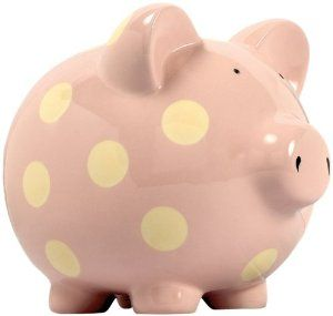 Elegant Baby Classic Pig Bank with Cream Polka Dots - Pastel Pink,$20.00