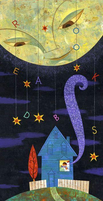 Book worm | Reading night / Lectura nocturna (ilustración de Rafael López)
