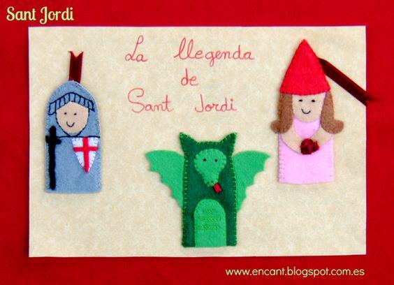 Títeres de dedo de la leyenda de Sant Jordi
