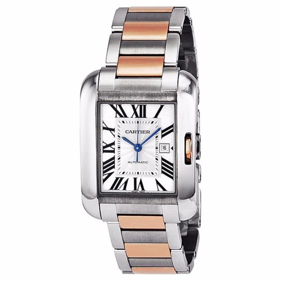 Cartier Unisex W5310007 'Tank Anglaise' 18kt Rose Automatic Two-Tone Stainless Steel Watch