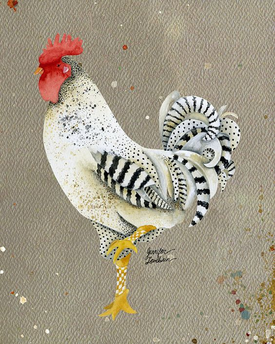 8x10 Art Print Rooster-Wallace by TheOpulentNest on Etsy, 18.00. Enlarge to see detail. I like the design on the feathers and legs! Same artist as the Bon Appetit picture on the other board.