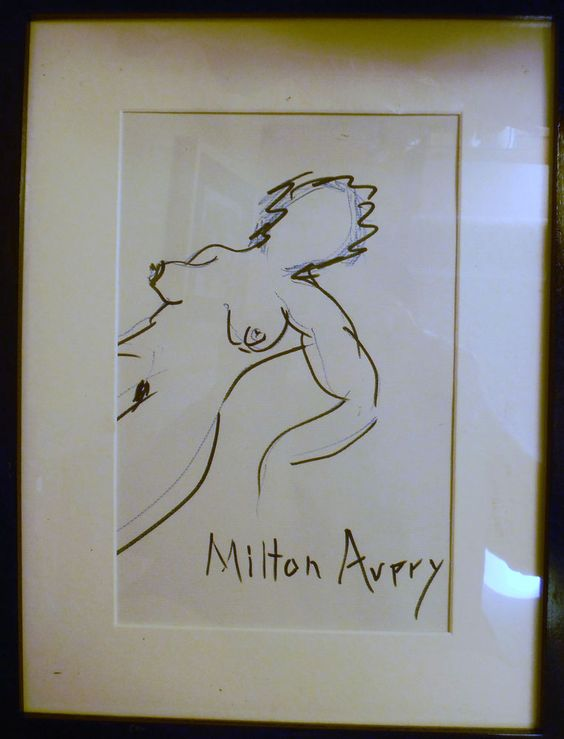 vintage ink drawing signed Milton Avery figurative nude woman reclining  #IllustrationArt