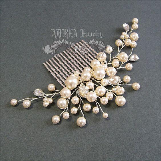 Boda accesorios para el cabello perlas de Marfil por adriajewelry