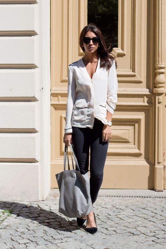 classic blouse + skinny jean