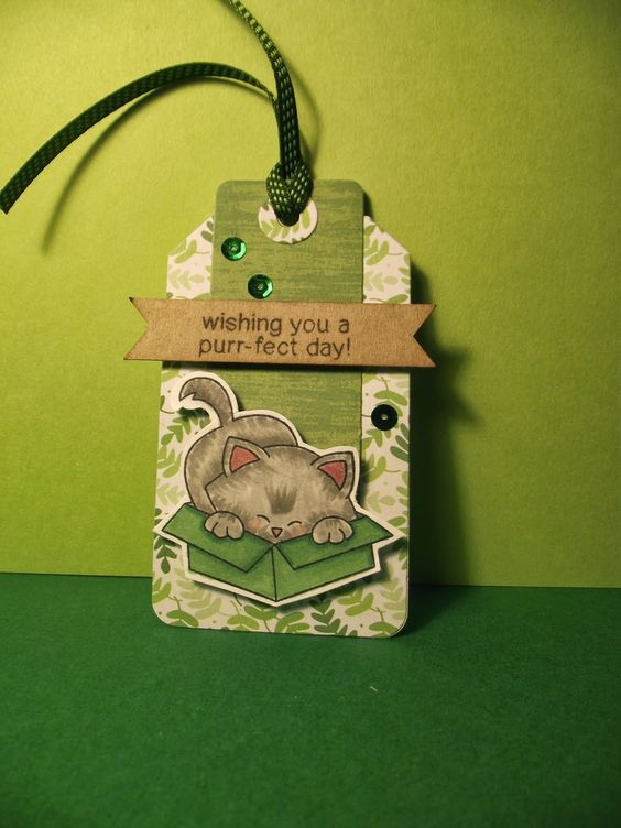 Time Out for Stamps: Newton's Nook tag Created for Inky Paws Challenge #7 Go Green at Newton's Nook Designs