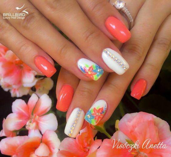 Melon orange white blue Hawaiian flowers nails
