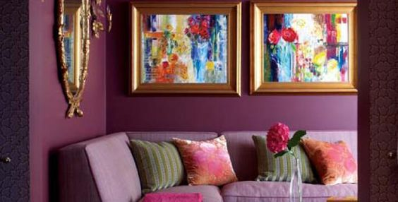 Rich purple room with gold accents