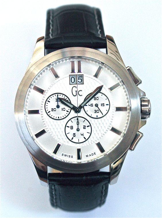 Guess Collection men's watch with black leather strap and chronograph and big date. From €400 for €299. See more at - www.megawatchoutlet.com