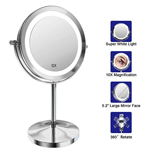 Lighted Makeup Mirror 7 Inch Led Vanity Swivel Mirror 1x 10x Magnifying Double Sided Mirror With Stan Makeup Mirror With Lights Double Sided Mirror Led Vanity