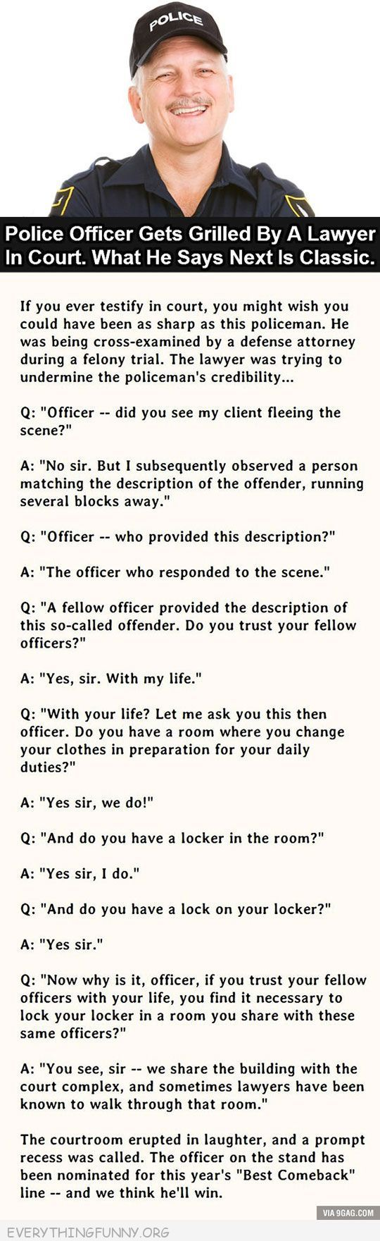 funny awesome police officer response to lawyer