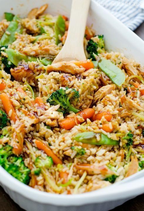Riz brocoli carotte pois mange tout poulet cuisine for Art et cuisine casseroles
