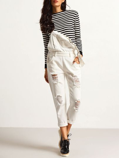 Shop White Strap Ripped Denim Jumpsuit online. SheIn offers White Strap Ripped Denim Jumpsuit & more to fit your fashionable needs.