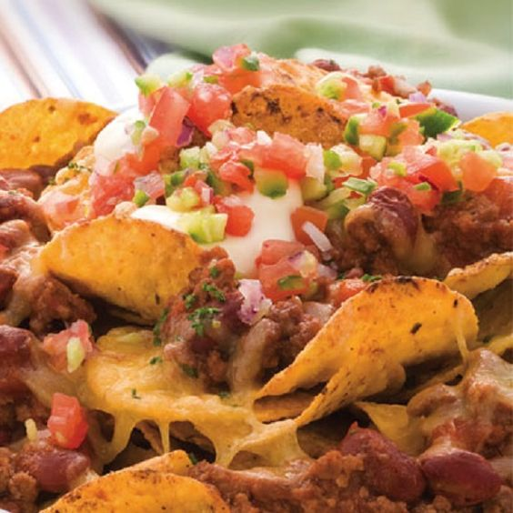 Salsa nachos.Very delicious Mexican meal baked in oven.