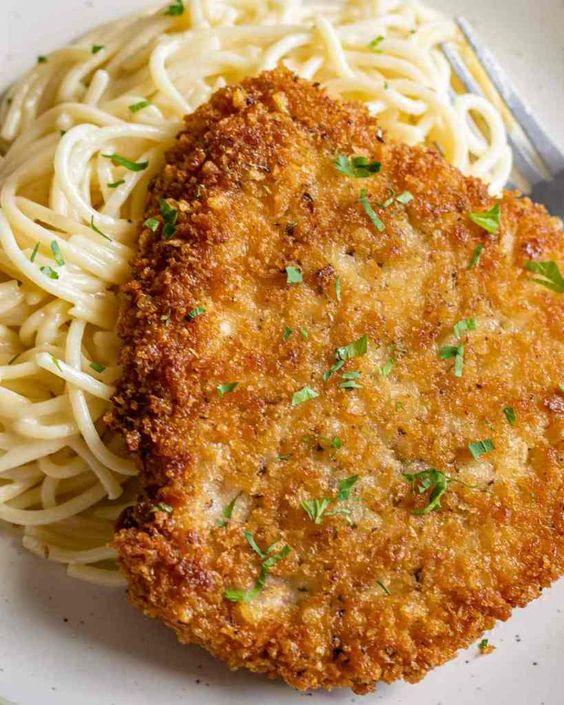 Parmesan Crusted Pork Loin Chops with Creamy Garlic Pasta
