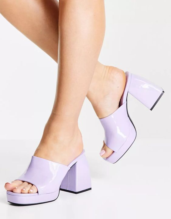 Public Desire Wide Fit Oreo heeled mules in lilac patent