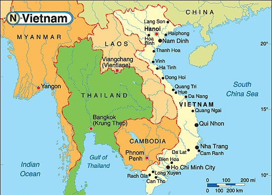 Map of Vietnam and its neighboring countries – Tourist Attractions Map In Vietnam