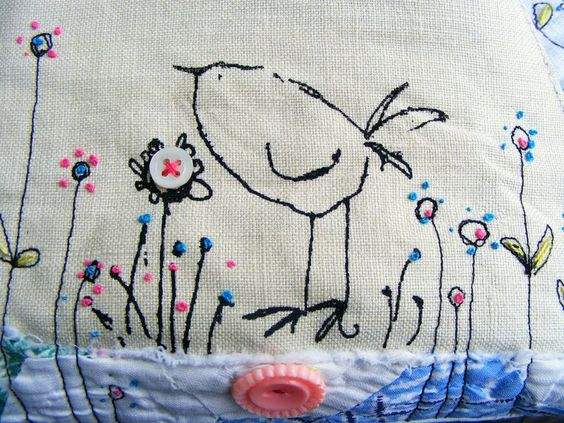 screen printed bird and embroidery