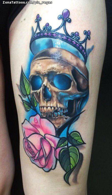 Tatuaje De Calaveras Coronas Rosas Tatuajes Calaveras