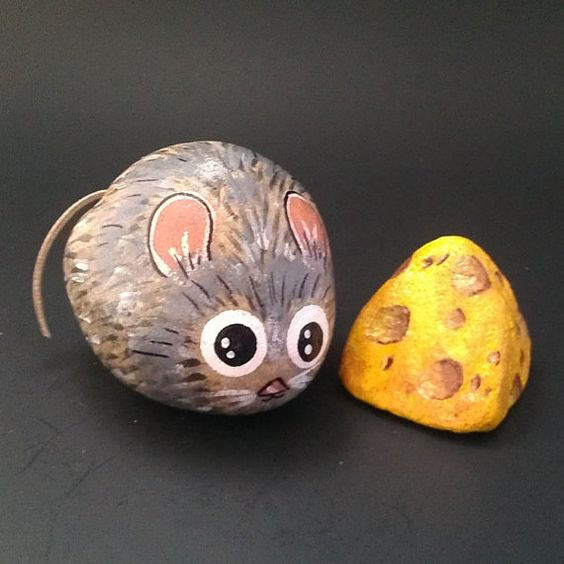 Mouse and cheese hand painted garden stones by Moodstones on Etsy