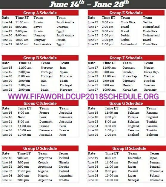 Fifa World Cup Knockout Stage Schedule 2018 Print Http Printableteamschedules Com Worldcupknockoutstage Php World Cup Knockout Fifa