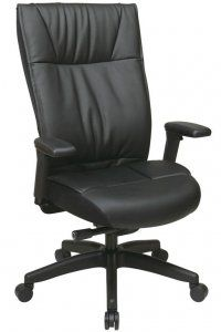 Contemporary Leather Executive Chair with PU padded adjustable arms, layered seat and back and nylon base SKU: 9370-55NC1A7U Contemporary Leather Executive Chair with PU padded adjustable arms, layered seat and back and nylon base. Pneumatic seat height adjustment, 360° swivel, pivot tilt, 2 to 1 synchro tilt, tilt tension with tilt lock Availability: 1 Color(s) Available Pricing: $429.99