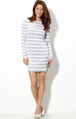 $150 MICHAEL Michael Kors Long Sleeve Sequin Gray/White Striped Beach Dress | On eBay for 49