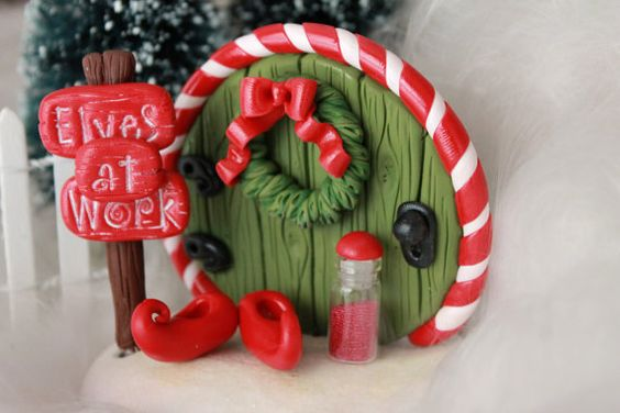 Mini Elf Door Fairy Door Christmas Decor by GnomeWoods on Etsy