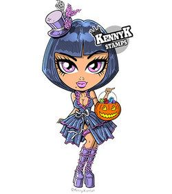"""Trixxie Treat"" Goth Halloween Girl color paper crafts card making digi stamp by KennyK Stamps"