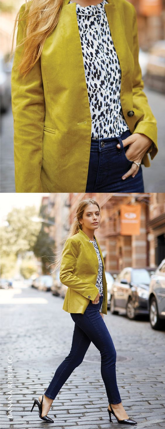 Add a pop of color to your look with our tailored one button velvet citron blazer. Pair this seasonal must have with a printed blouse and skinny jeans and gorgeously go | Banana Republic