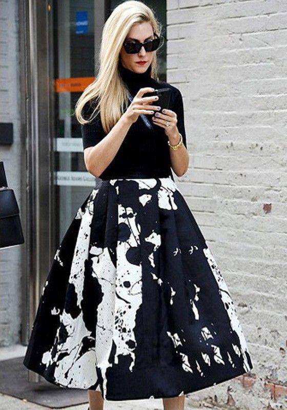 Black Floral Print A Type High Waist Skirt | High waist skirt ...
