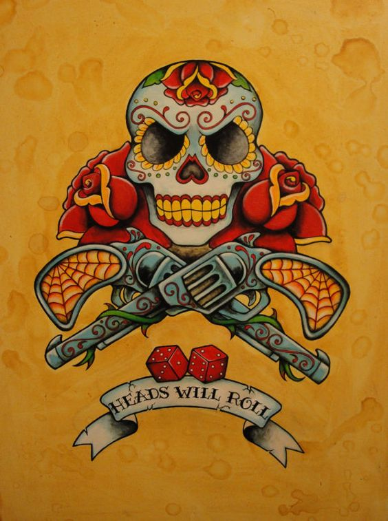 Day of the dead neo traditional old school tattoo flash for Old school day of the dead tattoo