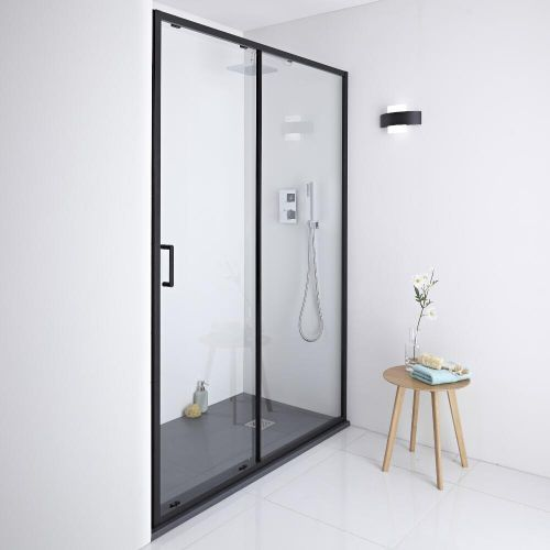 Milano Nero Shower Sliding Door Black 1100mm X 1950mm Black Shower Doors Shower Doors Sliding Shower Door