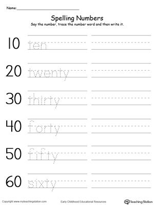 Worksheets Writing Numbers In Words Worksheets numbers in words worksheet printable worksheets pinterest free tracing and writing number by tens 10 60 worksheet