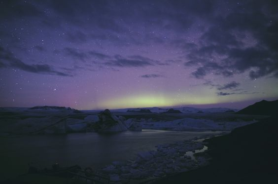 Glacier Lake - Aurora Borealis in the back, Icebergs in the front. Can it get better than that ?