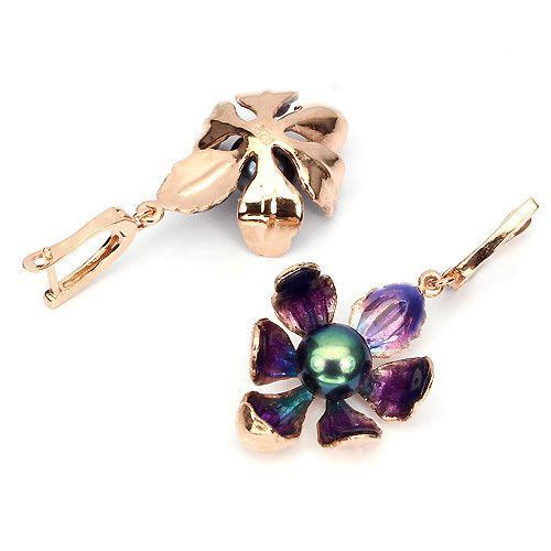 Black Tahitian Colored Pearl Rose Gold Plated Sterling Enamel Earrings