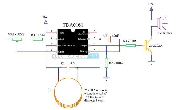 Metal Detector Circuit Diagram And Working Metal Detector Circuit Diagram Electronic Circuit Projects