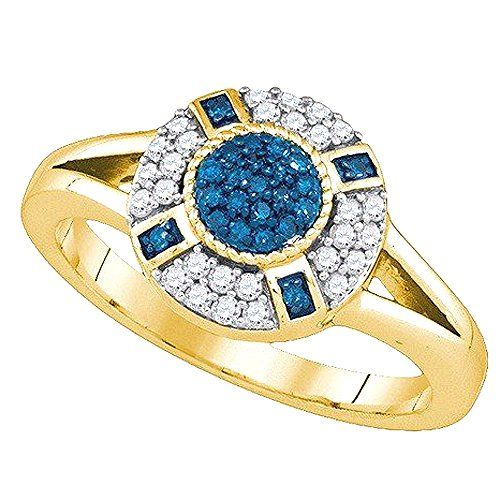 0.39 Carat (ctw) 10K Yellow Gold Round Cut White & Blue Diamond Ladies Right Hand Ring. Satisfaction Guaranteed. Return or exchange any order within 30 days. Crafted in 10K Yellow-Gold. Diamond Color / Clarity : I-J & Blue / I2-I3. Diamond Weight : 0.39 ct. tw. Gemstone : Diamond.