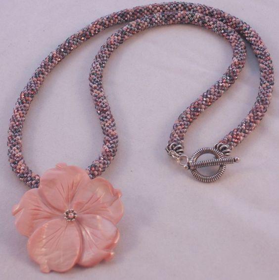 "Pink Tweed Seed Bead Necklace - 25"" $100.00"