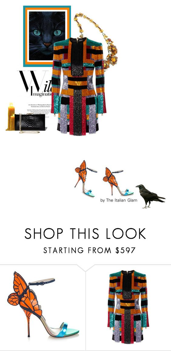 """""""Halloween in Balmain"""" by theitalianglam ❤ liked on Polyvore featuring Sophia Webster, Balmain, Salvatore Ferragamo, women's clothing, women's fashion, women, female, woman, misses and juniors"""