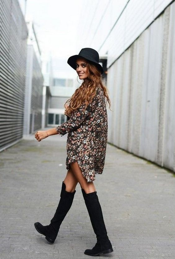 5. T-shirt dress | How to Wear Over the Knee Boots