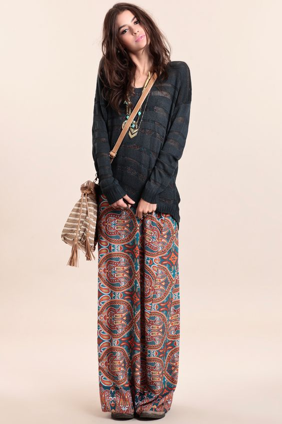 Very cute for fall. Paisley pants, basic knit sweater  boho cross body.