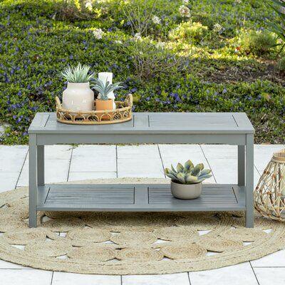 Sol 72 Outdoor Laverock Wooden Coffee Table Color Gray Wash In